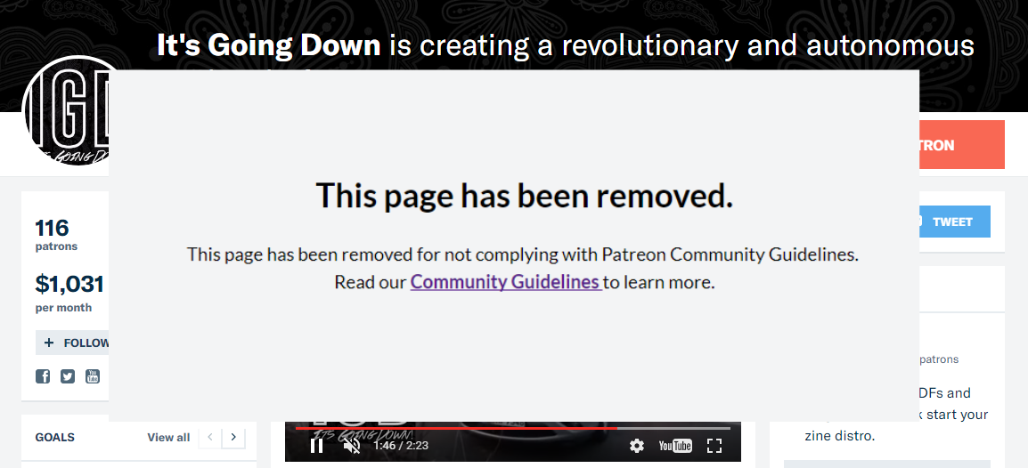 #DefundAntifa campaign a success. ItsGoingDown.org removed from Patreon