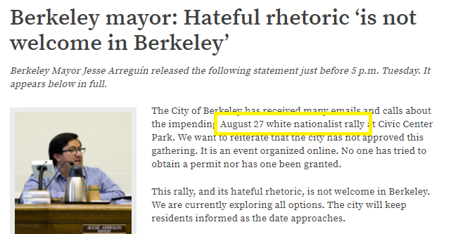 "Berkeley Mayor labels anti-Marxism event a ""White Nationalist Rally"""