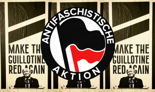 "Antifa group calls for Trump's head with ""Make the Guillotine Red Again"" posters"