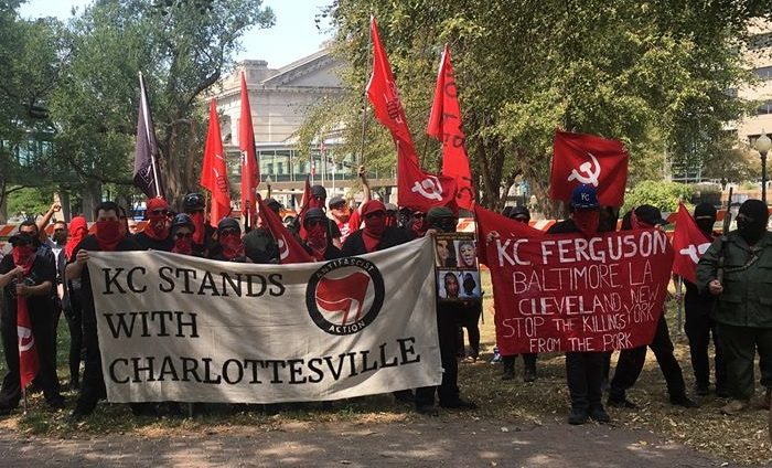 Armed Antifa communists rally in Kansas City