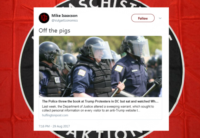 "Pro-Antifa professor from John Jay College tweets ""Off the pigs"""