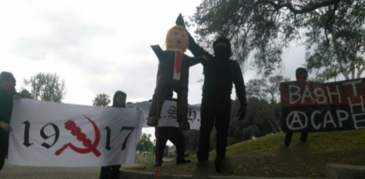 "Antifa group hangs Trump effigy, calls for ""military action"" against conservatives"